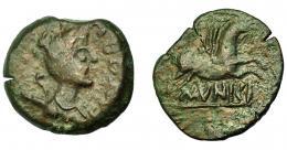 1371  -  HISPANIA ANTIGUA. EMPORION. As. A/ Busto de Diana a der., delante EMPORIA, poco legible. R/ Pegaso volando a der., debajo sobre línea MVNICI. AE 12,05 g. 28,6 mm. I-1242. ACIP-1061. Grietas. Pátina verde y roja. MBC-. Ex Áureo, 21-1-1997, lote 188.