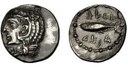 1382  -  HISPANIA ANTIGUA. GADIR. Hemidracma. A/ Cabeza de Melkart con leonté a izq. R/ Atún a der.; encima y debajo mhlm/'gdr. AR 2,41 g. 16,6 mm. I-1307. ACIP-630. MBC+. Muy rara. Compra privada Pliego (1993).