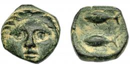 1384  -  HISPANIA ANTIGUA. GADIR. Cuarto. A/ Cabeza frontal de Helios. R/ Dos atunes a der. AE 2,3  g. 12,6 mm. I-1335. ACIP-644. Pátina oscura. MBC.
