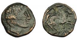 1039  -  HISPANIA ANTIGUA. ARSAKOS. As. A/ Cabeza masculina a der., detrás signos ibéricos ON, poco visibles. R/ jinete con lanza a der., debajo ARSAKoS. AE 8,04 g. 23,5 mm. I-134. ACIP-1672. Pátina oscura. BC+. Rara. Ex Áureo, 18-10-1994, lote 5.