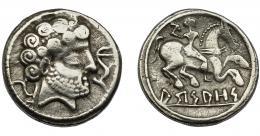 1043  -  HISPANIA ANTIGUA. HISPANIA ANTIGUA. ARSAOS. Denario. A/ Cabeza masculina con collar a der., delante delfín, detrás arado. Peinado de rizos en espiral en dos filas.  R/ Jinete con bipennis a der.; bajo las patas del caballo, sobre línea, ley. en ibérico ARSAOS. AR 3,92 g. 18 mm. I-139. ACIP-1659. BC+/MBC-. Muy rara.