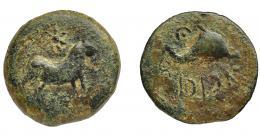 1046  -  HISPANIA ANTIGUA. ASIDO. Semis. A/ Toro a der., encima estrella. R/ Delfín a der., encima creciente con punto, delante caduceo, debajo ´sdnbl. AE5,92 g. 22,4 mm. I-158. ACIP-914. Pátina verde. BC+. Compra privada a Pliego (1997).