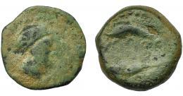 1005  -  HISPANIA ANTIGUA. ABDERA. Mitad. A/ Cabeza con casco a der. R/ Atún y delfín a izq., en medio ley. 'bdrt. AE 6,04  g. 19,2 mm. I-no. ACIP-880. Pátina verde. BC. Rarísima.