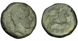 1051  -  HISPANIA ANTIGUA. AUSESKEN. As. A/ Cabeza masculina a der., detrás jabalí. R/ Jinete con palma a der., debajo sobre línea AUSE(SKeN). AE 21,35 g. 30,9 mm. I-167. ACIP-1294. BC-. Muy escasa. Ex Áureo, 15-4-1997, lote 2114.