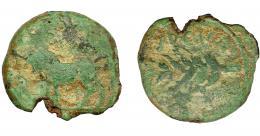 1057  -  HISPANIA ANTIGUA. BAILO. Mitad. A/ Toro a izq. R/ Espiga a izq., encima ley. libio-fenice b´l´bln, debajo (BAILO) no visible. AE 4,75 g. 21,8 mm. I-185. ACIP-924. Faltan fragmentos. Pátina verde oscuro. RC. Muy escasa. Compra privada Pliego (1992).