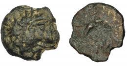 1065  -  HISPANIA ANTIGUA. BALLEIA. Divisor. A/ Cabeza a der. R/ Creciente con estrella, a los lados aspas, debajo (BALLEIA). Estilo tosco. AE 2,86 g. 15,5 mm. I-211. ACIP-2481. Faltan fragmentos. Pátina oscura. BC+/RC. Muy rara.