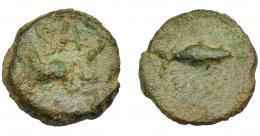 1066  -  HISPANIA ANTIGUA. BALSA. Divisor. A/ Atún. R/ Caballo galopando a izq., encima BALS. AE 4,64 g. 18,7 mm. I-197. ACIP-2510. Pátina verde. BC+. Rara. Compra privada Pliego (1995).