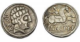 1074  -  HISPANIA ANTIGUA. BASKUNES. Denario. A/ Cabeza masculina barbada y con collar a der., detrás BeNKoTa. R/ Jinete blandiendo espada a der., debajo sobre línea BaSKuNES. AR 4,26 g. 17,2 mm. I-215. ACIP-1630. MBC.