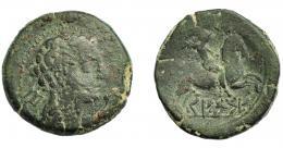 1769  -  HISPANIA ANTIGUA. KESE-TARRACO. As. A/ Cabeza masculina con cuello vestido a der., detrás signo ibérico Te. R/ Jinete con palma a der., sobre línea KeSSE. Ae 13,05 g. 26,97 mm. I-2349. ACIP-1205. Pátina oscura. BC+. Muy escasa.