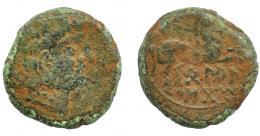 1078  -  HISPANIA ANTIGUA. BELAISKOM. Mitad. A/ Cabeza masculina a der., detrás signo Be. R/ Caballo con rienda suelta saltando a der., debajo BeLAI/SKoM. AE 3,66 g. 17 mm. I-239. ACIP-1815. Pátina verde con erosiones en el canto. BC-/BC+. Muy rara. Ex Hervera, 24-2-1996.