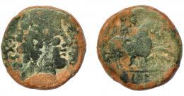 1796  -  HISPANIA ANTIGUA. TOLE. As. A/ Cabeza masculina a der., detrás EX SC, delante (CELTAMB). R/ Jinete lancero a der., en exergo, TOLE. AE 15,49 g. 25,84 mm. I-2402. ACIP-1903. Pátina verde. BC-. Muy rara.