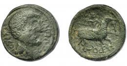 1797  -  HISPANIA ANTIGUA. TOLE. As. A/ Cabeza masculina a der., detrás EX COI C(VICIVS C F). R/ Jinete lancero a der., en exergo, TOLE. Ae 22,27 g. 27,13 mm. I-2408. ACIP-1906. Pátina oscura. BC+/BC. Muy rara. Ex Herrero, 14-11-1996.