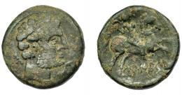 1798  -  HISPANIA ANTIGUA. TURIASU. As. A/ Cabeza masculina barbada a der., delante delfín, detrás Ka. R/ Jinete con hoz de guerra a der., debajo sobre línea TuRIASU. Ae 10,65 g. 24,12 mm. I-2425. ACIP-1704. Pátina oscura. BC+.