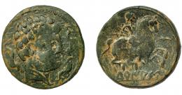 1803  -  HISPANIA ANTIGUA. TURIASU. As. A/ Cabeza masculina barbada a der., alrededor tres delfines. R/ Jinete lancero a der., debajo sobre línea TuRIASU. AE 10,41 g. 26,81 mm. I-2428 vte. ACIP-1732. Pátina oscura. BC+.