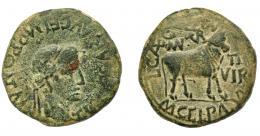 1813  -  HISPANIA ANTIGUA.  TURIASU. Tiberio. As. A/ Cabeza laureada a der.; TI CAESAR AVG F IMP PONT M. R/ Toro a der., encima MVN TVR, delante II VIR, alrededor L CAEC (A)QVIN M GEL PAL (VD). AE 12,36 g. 28,61 mm. I-2454. APRH-419a. ACIP-3292. Pátina oscura. BC+/MBC-. Compra privada Pliego (1996).