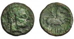 1082  -  HISPANIA ANTIGUA. BELIKION. As. A/ Cabeza masculina a der., detrás Be. R/ Jinete lancero a der., debajo BeLIKiON. AE 9,17 g. 23,4 mm. I-243. ACIP-1433. Pátina verde. RC.