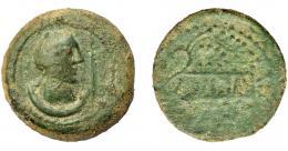 1823  -  HISPANIA ANTIGUA. ULIA. As. A/ Cabeza femenina a der., delante espiga, detrás creciente. R/ Ramas de vido formando cartela con IVLIA. Ae 22,38 g. 32,69 mm. I-2490. ACIP-2320. Pátina verde. BC+. Rara.