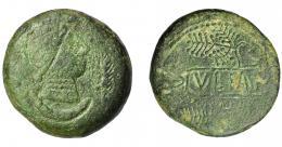 1824  -  HISPANIA ANTIGUA. ULIA. As. A/ Cabeza femenina a der., delante espiga, detrás creciente. R/ Ramas de vido formando cartela con IVLIA. AE 15,63 g. 30 mm. I-2490. ACIP-2321. Pátina verde. BC+/MBC-. Muy escasa.