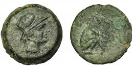 1831  -  HISPANIA ANTIGUA. URSO. As. A/ Cabeza de Roma a der., detrás VRSO. R/ Oso sentado a der., ley. no visible. AE 16,27 g. 30,39 mm. I-2496. ACIP-2330. Pátina verde rugosa. MBC/MBC-.