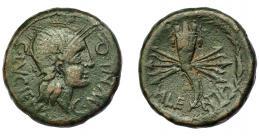 1834  -  HISPANIA ANTIGUA. VALENTIA. As. A/ Cabeza de Roma a der.; C LVCIEN-C MVNI Q, todo dentro de corona vegetal. R/ Cornucopia con haz de rayos; VALE-NTIA. AE 16,65 g. 28,81 mm. I-2510. ACIP-2049. Pátina oscura. MBC. Ex Áureo, 7-3-2001, lote 548A.