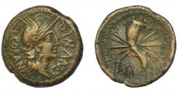 1836  -  HISPANIA ANTIGUA. VALENTIA. As. A/ Cabeza de Roma a der.; L CORANI-C NVMI Q, todo dentro de corona vegetal. R/ Cornucopia con haz de rayos; VALE-NTIA. AE 14,84 g. 28,77 mm. I-2511. ACIP-2057. Superficies erosionadas. MBC. Muy escasa.