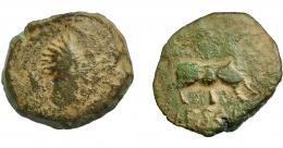 1839  -  HISPANIA ANTIGUA. VESCI. As. A/ Cabeza masculina a der., detrás espiga. Estilo tosco. R/ Toro a der., detrás árbol, debajo (V)ESC(I), delante ley. (w'hsk). AE 11,65 g. 26,23 mm. I-2519. ACIP-963. Pátina verde. BC. Muy rara. Compra privada Pliego (2000).