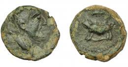 1845  -  HISPANIA ANTIGUA. TIPO JABALÍ-CLAVA. As. A/ Cabeza masculina a der. R/ Jabalí sobre ¿serpiente? a izq., encima clava. AE 6,67 g. 21,5 mm. I-no. ACIP-2438. Campos del rev. retocados. Pátina verde oscuro. Rarísima. BC+.