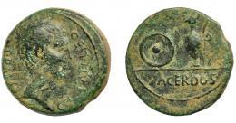 1846  -  HISPANIA ANTIGUA. TIPO SACERDOS. Semis. A/ Cabeza masculina a der.; CN STATI LIBO PRAEF. R/ Pátera y jarra; SACERDOS. AE 7,33 g. 22,28 mm. I-587 (Cartago Nova). APRH-48a. ACIP-2645. Pátina verde. BC+/MBC-. Rara.