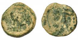 1848  -  HISPANIA ANTIGUA. TIPO VULCANO. A/ Cabeza de Vulcano con gorro cónico a der., detrás tenazas. R/ Figura con pala avanzando a der. AE 4,46 g. 17,87 mm. I-M-16 (moneda minera). ACIP-2648. Pátina verde. BC-/RC. Muy escasa.