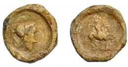 1849  -  HISPANIA ANTIGUA. Plomo monetiforme. A/ Cabeza de Atenea a der. R/ Jinete lancero a der., debajo perro. AE 43,25 g. 29,93 mm. I-No. CCP-p. 23, 5. MBC-/MBC. Muy rara.