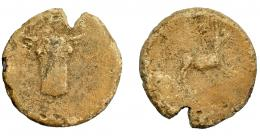 1850  -  HISPANIA ANTIGUA. Plomo monetiforme. A/ Cabeza frontal de toro. R/ Animal a der., detrás árbol. AE 45,33 g. 39,62 mm. I-No. CCP-p. 29.15 (sim.). Raya en anv. Cospel abierto. BC+.  Compra privada Pliego (200).