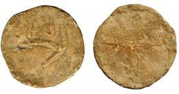 1851  -  HISPANIA ANTIGUA. Plomo monetiforme. A/ Palma o espiga. R/ Arado, encima ASI(?). Ae 35,58 g. 42,69 mm. I-no. ACIP-p.37.2. RC/BC+. Rarísima.