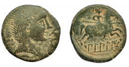 1093  -  HISPANIA ANTIGUA. BILBILIS. As. A/ Cabeza masculina a der., delante delfín, detrás signo ibérico Bi. R/ Jinete lancero a der., debajo  BiLBiLIS. AE 10,56 g. 25,7 mm. I-258. ACIP-1577. Pátina verde claro. BC/BC+.