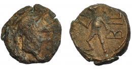 1096  -  HISPANIA ANTIGUA. BILBILIS. Cuadrante. A/ Cabeza con casco a der. R/ Figura avanzando a izq., detrás 3 glóblos y BIL. AE 2,36 g. 14,9 mm. I-273. ACIP-1583. BC+/MBC. Muy rara. Ex Áureo, 27-6-1995, lote 127.