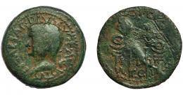 1  -  HISPANIA ANTIGUA. ACCI. As. Tiberio. A/ Cabeza laureada a izq. R/ Dos aquilae entre dos signa; L-I-II/A-CC-I. AE 13,14 g. 28,6 mm. I-39. APRH-139. ACIP-3007. Pátina verde. BC/BC+. Rayas.