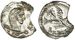 100  -  GRECIA ANTIGUA. MAURITANIA. Juba II. Cesarea. Denario (25 a.C.-23 d.C.). R/ Capricornio con globo, cornucopia y timón, debajo: R•XXXXII. Mazard-211. Falta fragmento de un 20%. EBC+.