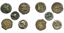 106  -  REPÚBLICA ROMANA. Lote de 5 monedas: quinario anónimo (1), quinario Titia (1), victoriatos (2) y denario anónimo (1). De BC-a MBC-.