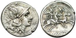 107  -  REPÚBLICA ROMANA. ACUÑACIONES ANÓNIMAS. Denario. Sur de Italia (200-190 a.C.). AR 4,42 g. CRAW-445. FFC-7. MBC+.