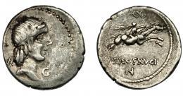 108  -  REPÚBLICA ROMANA. CALPURNIA. Denario. Roma (90-89 a.C.). R/ L PISO FRVGI. AR 3,8 g. 18,69 mm. CRAW-340.1. FFC-286. MBC-/MBC.