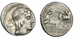 109  -  REPÚBLICA ROMANA. JULIA. Denario. Roma (85 a.C.). A/ Tridente y hacha. AR 3,61 g. 18,14 mm. CRAW-352.1a. FFC-767. Vano. MBC.