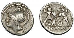 110  -  REPÚBLICA ROMANA. MINUCIA. Denario. Roma (103 a.C.). R/ Dos soldados combatiendo, entre ellos, uno caído. AR 3,78 g. 19,67 mm. CRAW-319.1. FFC-928. BC+.