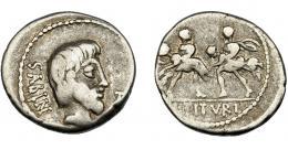 113  -  REPÚBLICA ROMANA. TITURIA. Denario. Roma (89 a.C.). A/ Cabeza del rey Tacio a der, delante TA (en monograma), detrás SABIN. AR 3,31g. 18,26 mm. CRAW-344-1a. FFC-1152. BC+.