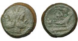 115  -  REPÚBLICA ROMANA. ACUÑACIONES ANÓNIMAS. As. Sudeste de Italia (208 a.C.). A/ Cabeza de Jano bifronte. R/ Proa a der., encima maza y a der. valor I.  AE 29,22 g. 31,65 mm. CRAW-89.3. BC+.