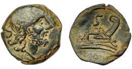 117  -  REPÚBLICA ROMANA. IMITACIÓN HISPANA DE NUMERARIO ROMANO. Semis (I a.C.-I d.C.). A/ Cabeza de Saturno a der., detrás S. R/ Proa a der., encima S y en exergo ROMA. AE 5,71 g. 22.55 mm. I-R44. MBC-/MBC.