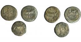 119  -  PERIODO JULIO CÉSAR- AUGUSTO. MARCO ANTONIO. Lote de 3 denarios. De RC a BC.