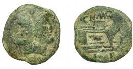 120  -  PERIODO JULIO CÉSAR- AUGUSTO. POMPEYO EL GRANDE. As. Hispania (45-46 a.C.). A/ Cabeza laureada de Jano; encima I. R/ Proa a der.; encima CN. MAG.; debajo IMP. CRAW-471.1. BC/BC+.