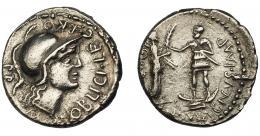 121  -  PERIODO JULIO CÉSAR- AUGUSTO. POMPEYO EL GRANDE. Denario. Hispania (46-45 a.C.). A/ Cabeza de Palas a der.; M. POBLICI. LEG. PRO. PR. R/ Cneo Pompeyo hijo con proa bajo su pie, entregando palma a la Bética, con escudo y dos jabalinas; (CN) MAGNVS IMP. CRAW-469a. FFC-1. MBC+.