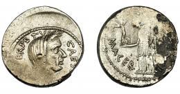 123  -  PERIODO JULIO CÉSAR- AUGUSTO. JULIO CÉSAR. Denario. Roma (44 a.C.). A/ Cabeza velada a der.; CAES(AR DICT. P)ERPETVO. R/ Venus a izq. con Victoria y cetro, a sus pies escudo; MACER. (P. SEPVLLIVS). CRAW-480.13. FFC-31. Descentrada. Vanos, erosiones y contramarca en anv. MBC+. Rara.