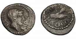 125  -  PERIODO JULIO CÉSAR- AUGUSTO. MARCO ANTONIO. Quinario. Roma (40-39 a.C.). A/ Cabeza velada de Concordia a der. R/ Dos manos saludándose, detrás caduceo; M ANTON C CAESAR. CRAW-529/4b. BC+/MBC-. Escasa.