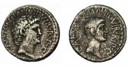 126  -  PERIODO JULIO CÉSAR- AUGUSTO. MARCO ANTONIO Y AUGUSTO. Denario. Ceca móvil (39 a.C.). A/ Cabeza de Marco Antonio a der.; M. ANTON. IMP. III VIR. R. P. C. R/ Cabeza de Octavio a der.; CAESAR. IMP. III VIR. R. P. C. CRAW-528.2b. FFC-3. MBC-.
